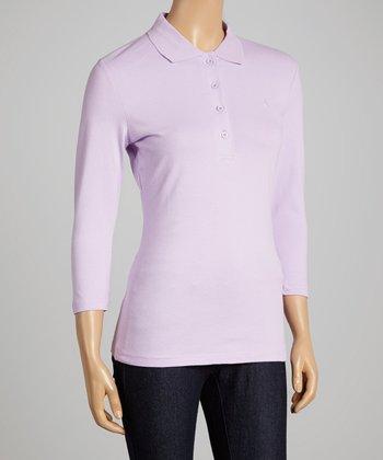 Lavender Three-Quarter Sleeve Polo - Women