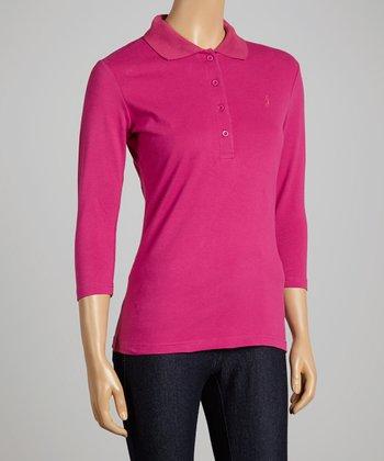 Magenta Three-Quarter Sleeve Polo - Women