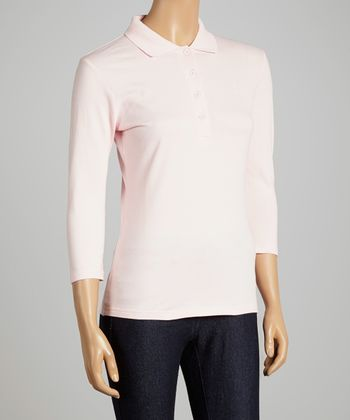 Pink Three-Quarter Sleeve Polo - Women