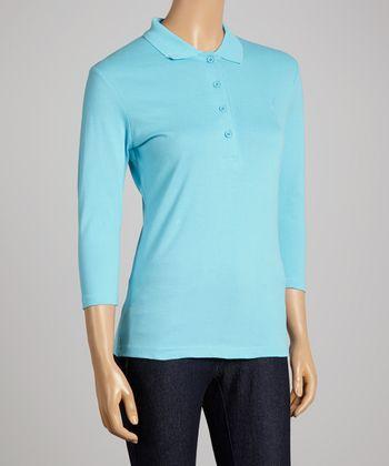 Turquoise Three-Quarter Sleeve Polo - Women