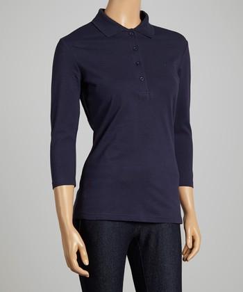 Navy Three-Quarter Sleeve Polo - Women