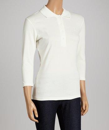 Off-White Three-Quarter Sleeve Polo - Women