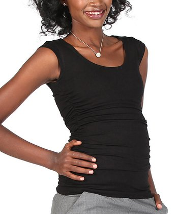 Black Maternity & Nursing Cap-Sleeve Top - Women