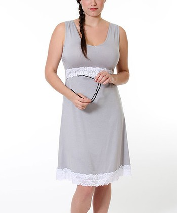 Stone Gray Maternity & Nursing Nightgown - Women