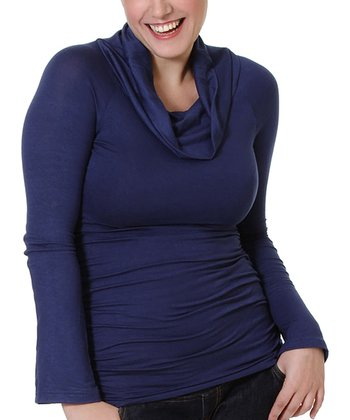 Navy Maternity & Nursing Cowl Neck Top - Women