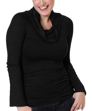 Black Maternity & Nursing Cowl Neck Top - Women