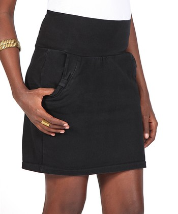 Black Mid-Belly Maternity Skirt - Women