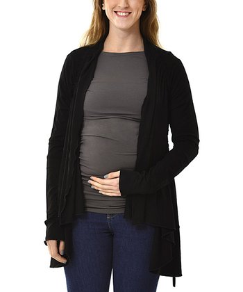 Black Maternity & Nursing Open Cardigan - Women