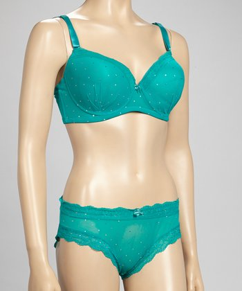 5th Avenue Intimates Teal Glimmer Lace Bra & Bikini Briefs - Plus