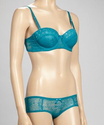5th Avenue Intimates Blue Stud Lace Balconette Bra & Bikini Briefs - Women