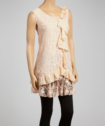 Light Pink Ruffle Sleeveless Tunic