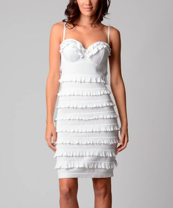 24339f775641 Sara Boo White Ruffle Sweetheart Neck Sleeveless Dress