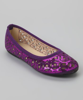 Purple Sequin Lasercut Brittany Flat