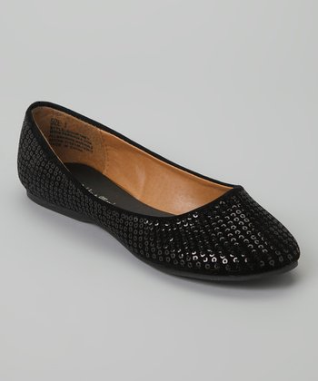 Black Sequin Courtney Flat