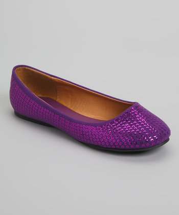 Purple Sequin Courtney Flat
