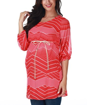 Red & White Chevron Maternity Tunic
