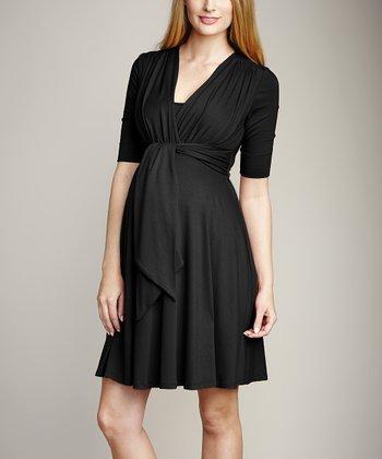 Maternal America Black Maternity & Nursing Surplice Dress