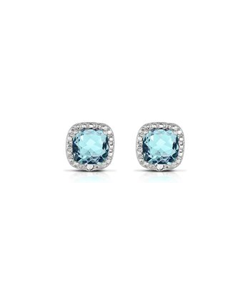 Blue Topaz & Diamond Cushion Stud Earrings