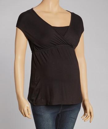 Mom & Co. Black Maternity & Nursing Surplice Top - Women