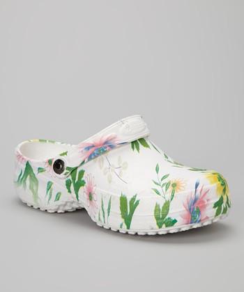 NothinZ White Wild Flower Closed-Top Clog - Women