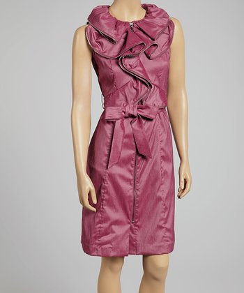 Plum Ruffle Zipper Tie-Waist Dress - Women