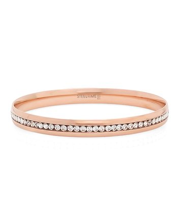 Rose Gold Sparkle Simulated Diamond Eternity Bangle