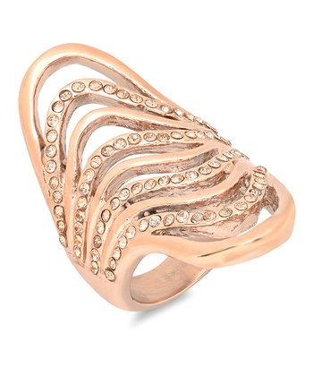 Rose Gold & Simulated Diamond Cocktail Ring