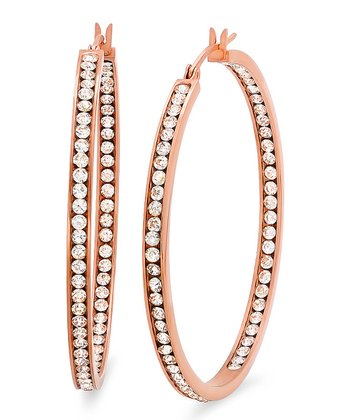 Rose Gold & Simulated Diamond Hoop Earrings