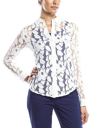 Snow White Sheer Floral Button-Up - Women