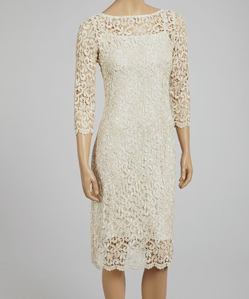 Ivory & Gold Floral Lace Scoop Neck Dress - Women