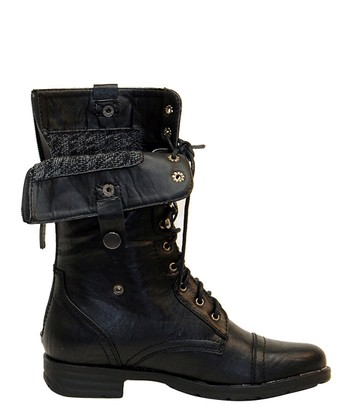 Black & Gray Cuff Lace-Up Boot