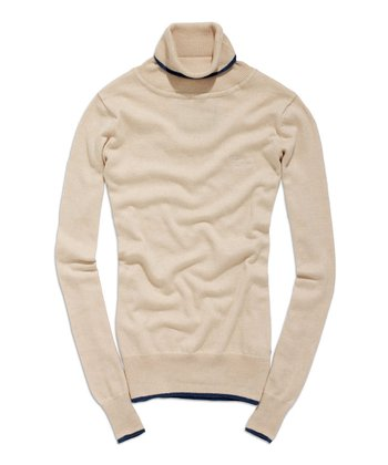 Butter Milk & Petrol Turtleneck Sweater