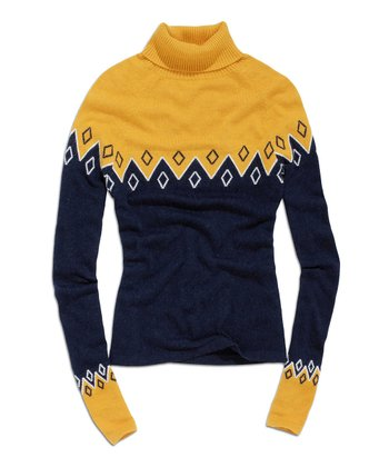 Denim & Yellow Turtleneck Sweater