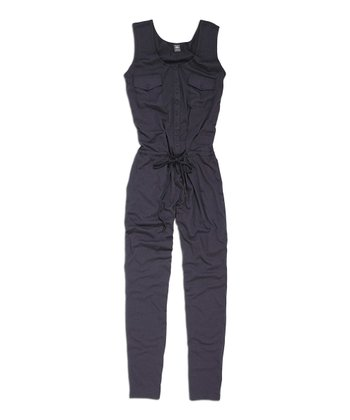 Anthracite Sleeveless Button-Up Jumpsuit