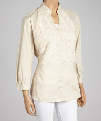 Nancy Yang Oyster Textured Floral Button-Up Top