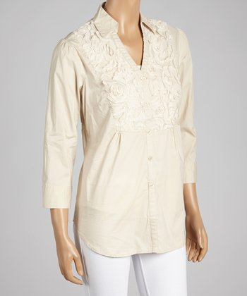 Nancy Yang Cream Textured Floral Button-Up Top
