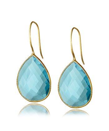 Blue Topaz & Gold Teardrop Earrings