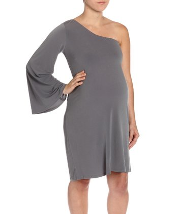 Gray Asymmetrical Bell-Sleeve Maternity Dress