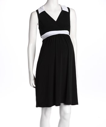 Black & White V-Neck Maternity Dress