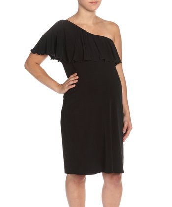 Black Asymmetrical Maternity Dress