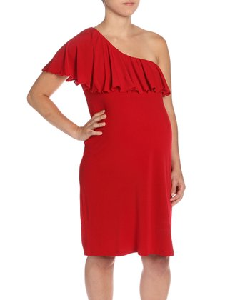 Red Asymmetrical Maternity Dress