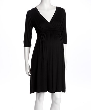 Black Surplice Maternity Dress