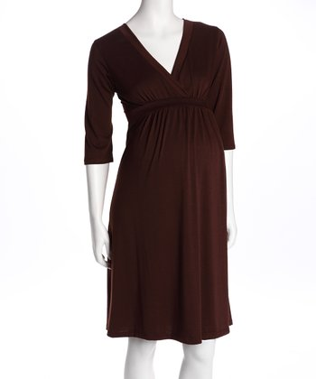 Brown Surplice Maternity Dress