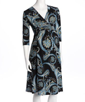 Paisley Surplice Maternity Dress
