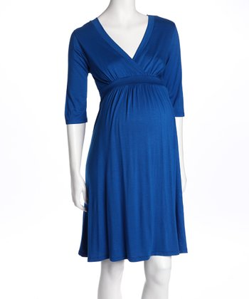Royal Blue Surplice Maternity Dress