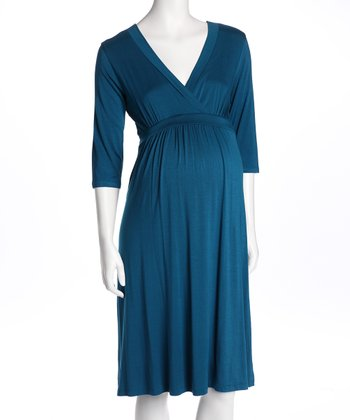 Teal Surplice Maternity Dress