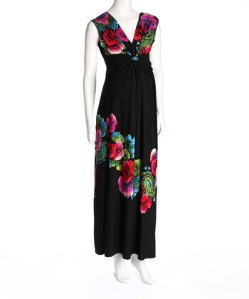 Black Floral Maternity Maxi Dress
