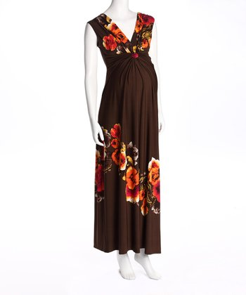 Brown Floral Maternity Maxi Dress