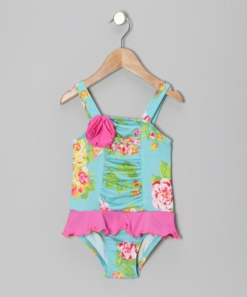 Aqua Orleans Rose Ruffle One-Piece - Infant, Toddler & Girls