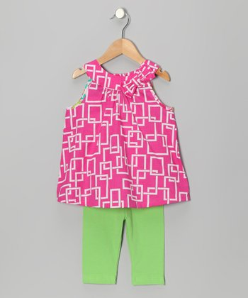 Pink & Lime Square Tunic & Leggings - Infant, Toddler & Girls